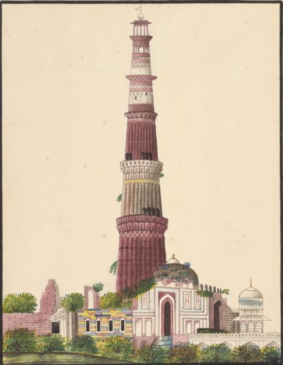 Artist Unknown - The Qutb Minar with Robert Smith's Cupola, 1830