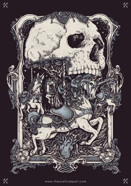 Merry-go-round, the second illustration of «Joy and sorrow» cycle. T-shirt design with unicorns, heart, tattoo style / baroque / vintage frame, death / skull. Dark art, hatching, A3, ink drawing on paper, digital coloring.