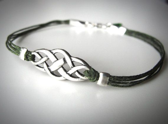 Sterling Celtic Knot bracelet on Irish waxed linen from JewelryByMaeBee on Etsy.