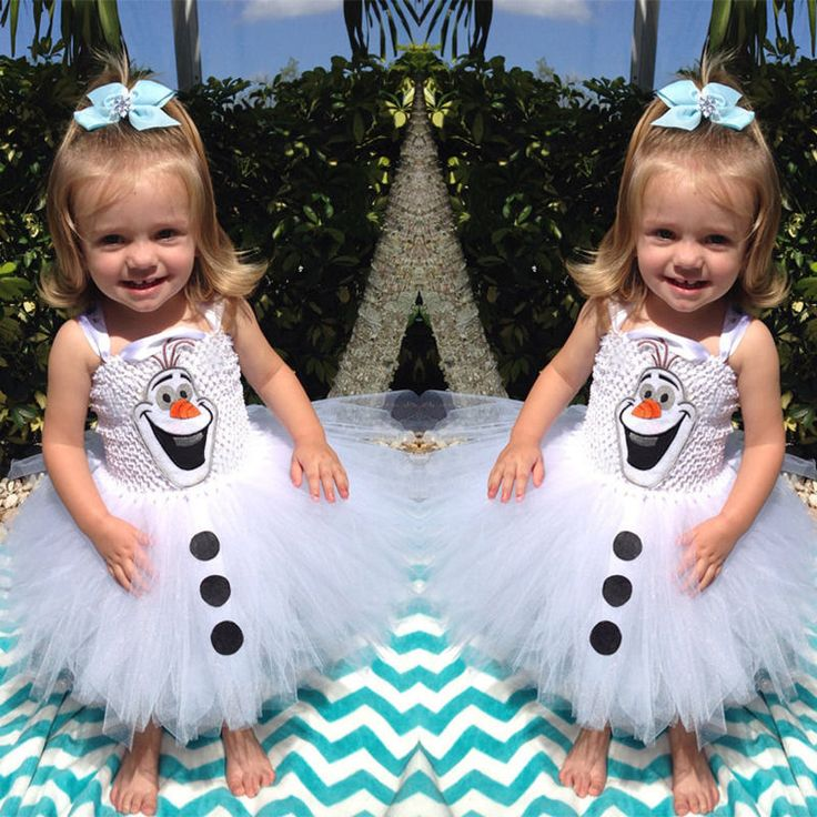 Cute Baby Girls Snowman Olaf Lace Tulle Gown Fancy Xmas Party Dresses Tutu Dress #PajamaSet