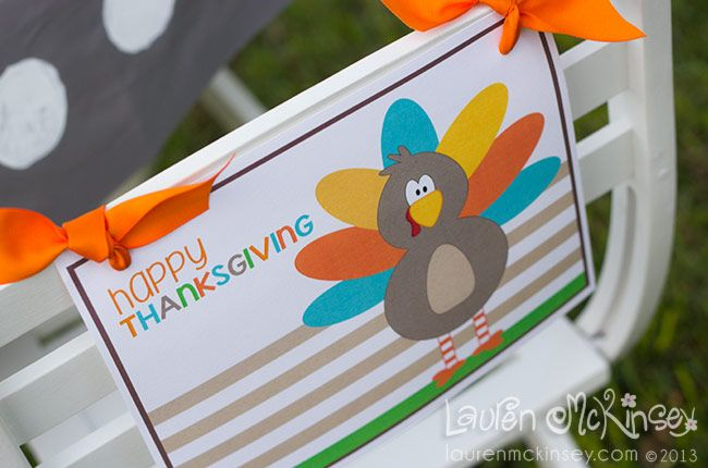 Thanksgiving printables- happy thanksgiving sign with cute turkey by Lauren McKinsey.