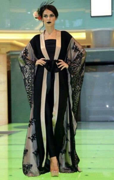 Abaya with lace, black and nude