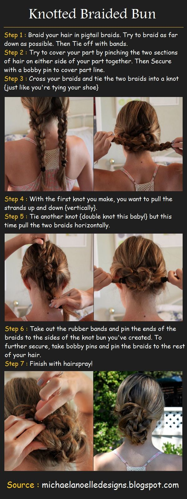 How to do a Knotted Braided Bun (I used to do this all the time...I just need my hair to grow out more...)