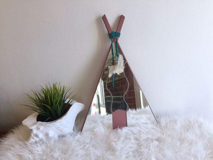 Triangle Southwestern Mirror / Triangle Boho Mirror / Tipi Shaped Native American Style Mirror / Mauve Pyramid Mirror / 1980's Boho Mirror by ShopRachaels on Etsy https://www.etsy.com/listing/497099827/triangle-southwestern-mirror-triangle