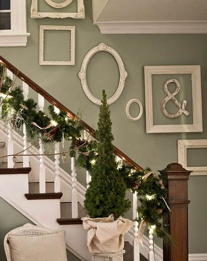 white vintage frames in various style and frame sizes for staircase wall decoration ideas