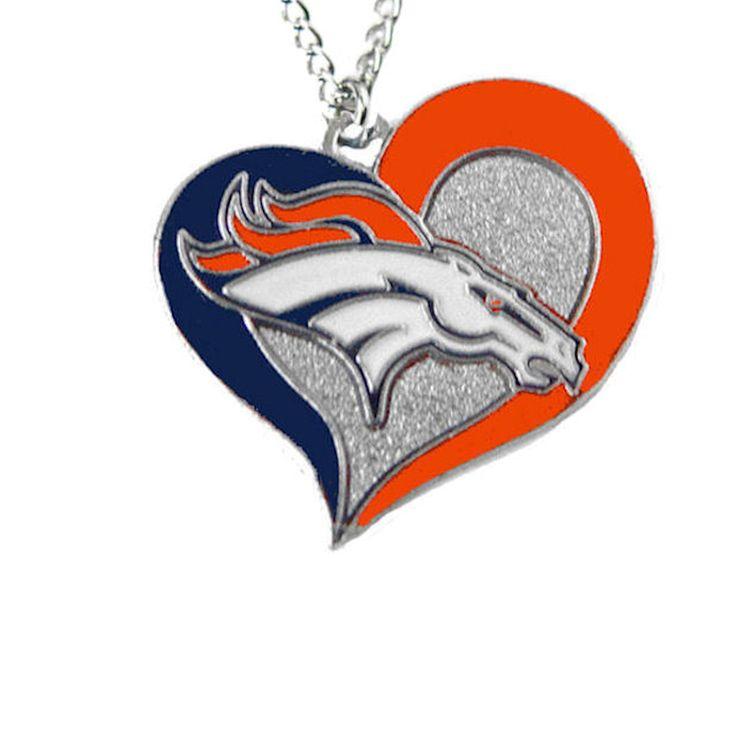 Denver Broncos Women's Swirl Heart Necklace