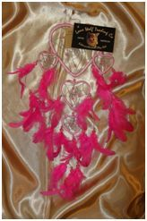 Heart Shaped Bead and Feather Dream Catcher (Small):  A small sized gorgeous contemporary designed heart shaped dream catcher filled with beads and feathers, measuring approximately 12cm in diameter.     This dream catcher comes in various amazing colours.  Choose from Red, Pink, Purple and Aqua.