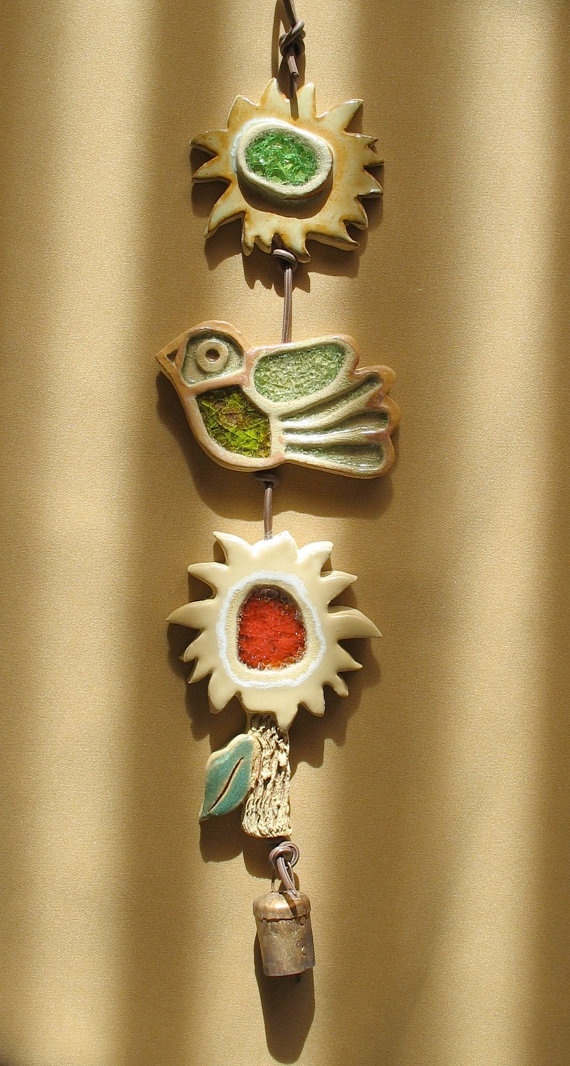 Clay & Glass Garden Mobile 3  Sun Bird Flower by SallysClay
