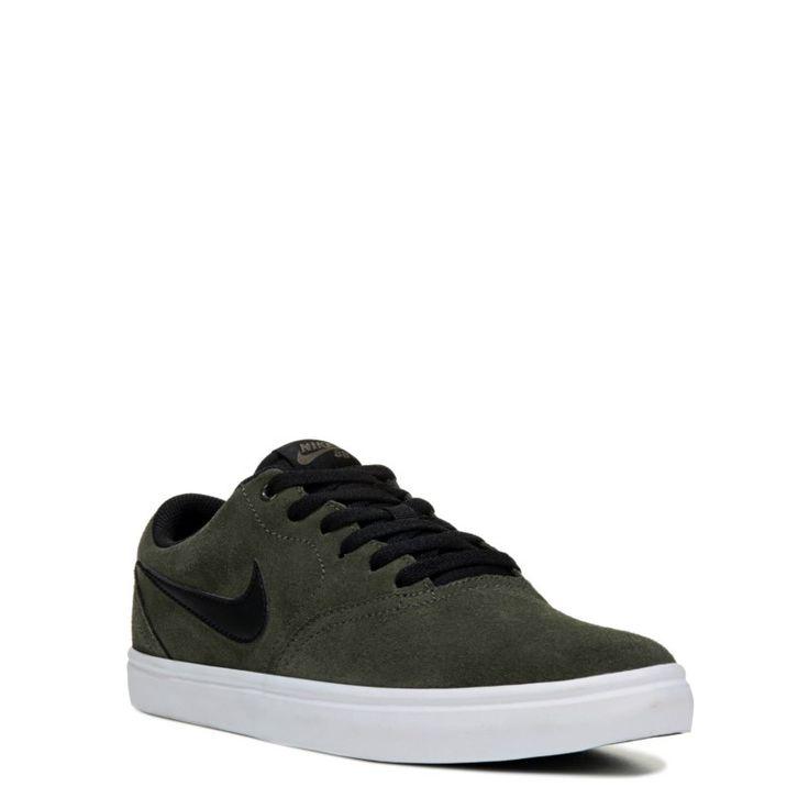 Nike Men's Nike SB Check Solar Suede Skate Shoes (Khaki/Black) - 13.0 M