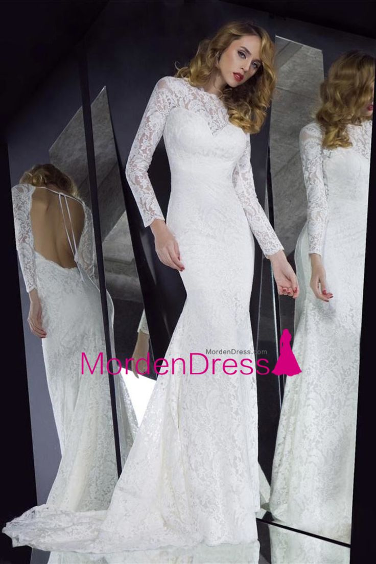 2015 Sexy Mermaid Prom Dresses Long Sleeves Lace Court Train With Ribbon