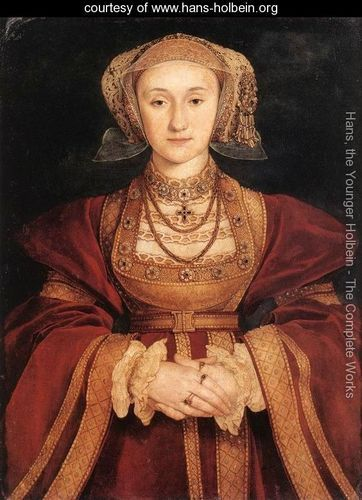 "Portrait of Anne of Cleves c. 1539, Hans, the Younger Holbein,  a northern Renaissance portraitist.  Henry VIII commissioned this portrait and married her by proxy, unseen, on  the basis of this portrait.  When he met her, he was horrified, considered her ugly, referring to her as ""the Flanders Mare"" and later divorced her.  Not Holbein's happiest client!"