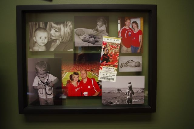 I created this layered frame from Target using pics and a Husker ticket in a mix of b and Husker red.