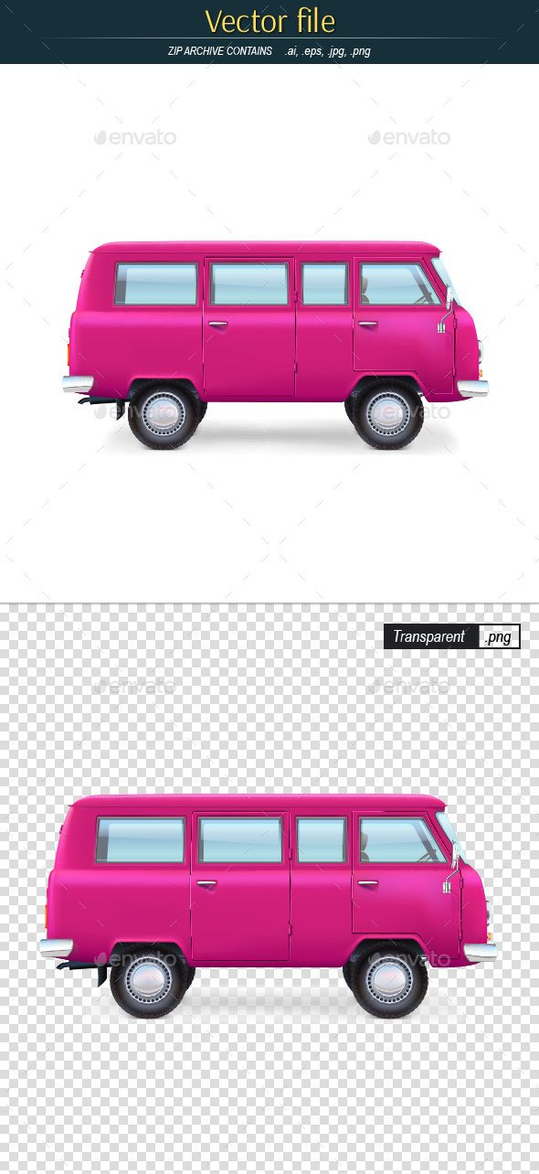 Retro Bus Editable Vector