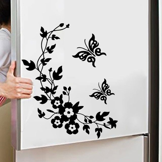 Black Classic Butterfly Flower Home Wedding Wall Stickers For