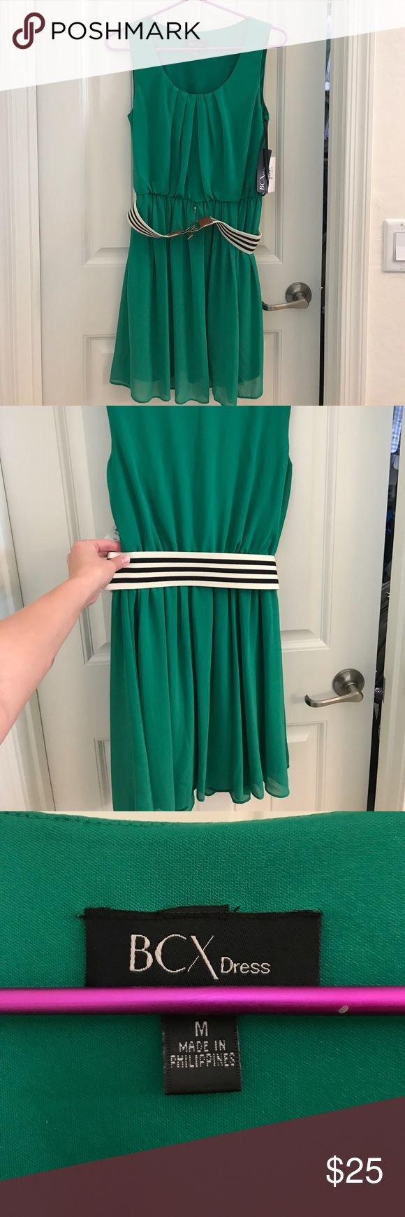 BCX sleeveless green dress size M Short green dress perfect for spring afternoons about town. Comes with black and white striped accent belt. BCX Dresses