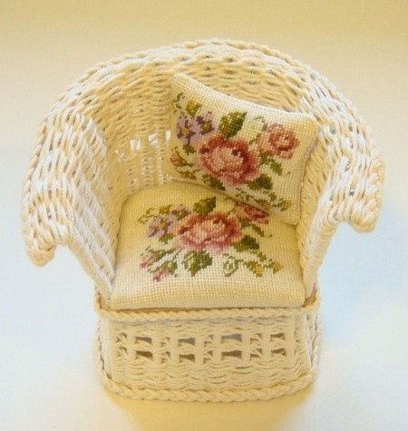Miniature Wicker Doll House seat with petit point flower pad and pillow
