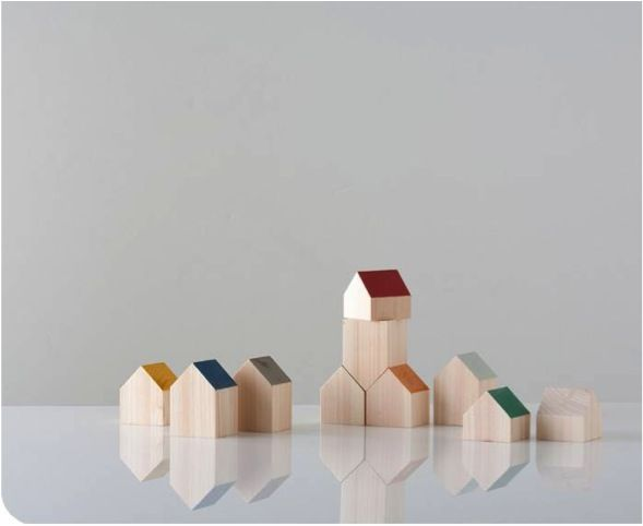 some tiny japanese wooden toys. This is appealing to both our toy and architectural sides