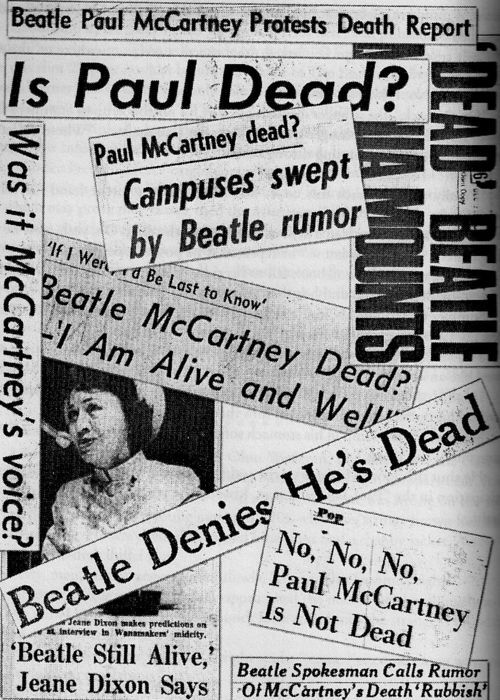 """Sept. 1969. The London Daily Mirror launches the """"Paul McCartney is dead"""" hoax by printing the headline """"Clues Hint A Beatle Death."""""""