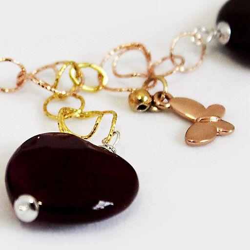 #Collana Corta in #Argento Color Naturale Rosa #Oro, #Agata Rubino