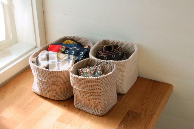 Virkade korgar, med tredubbelt garn! #knittingroom #garn #hemmet #inspiration #korg #inredning
