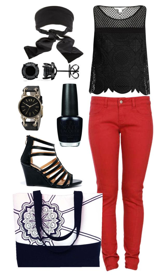 """the regina tote and black and red"" by hollandcox ❤ liked on Polyvore featuring Standard Jean Co, Diane Von Furstenberg, Armani Exchange, Colette Malouf, OPI and DbDk"