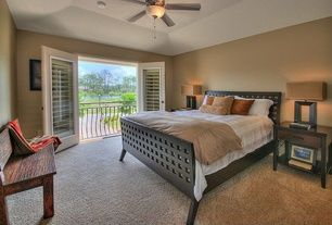 Transitional Master Bedroom with Carpet, High ceiling, Interior plantation shutters, Bed with Wood Slats by DwellStudio