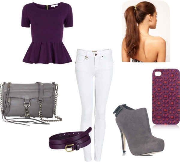 """Plum and Grey Peplum Outfit"" by equestriangirl123 ❤ liked on Polyvore"
