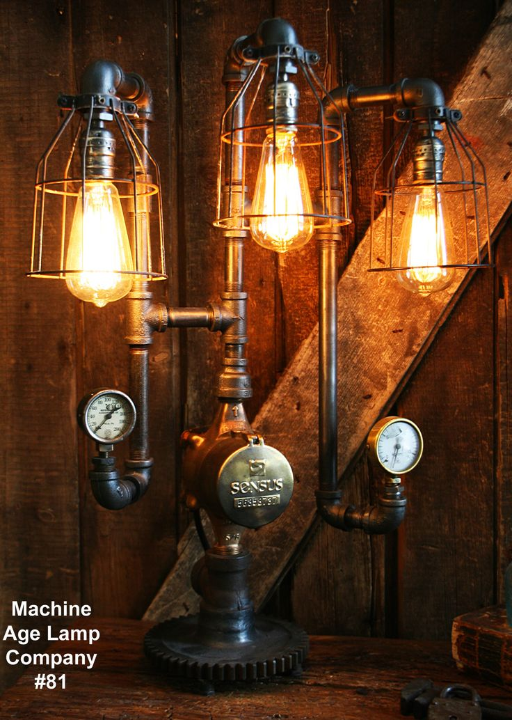 203 best machine age lamp company images on pinterest machine steampunk lamp industrial lighting steam gauge 81 sold greentooth Gallery
