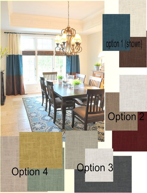 I Choose Option 3 For The Study Custom Grommet Stripe Linen Curtains Lined Centerpiece IdeasDining Table