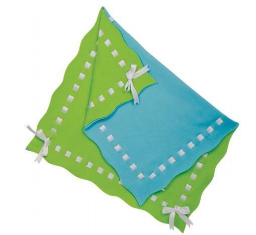 No sew fleece blanket- I like the ribbon woven  into the blanket, fancier than the ones with the tied fringe.