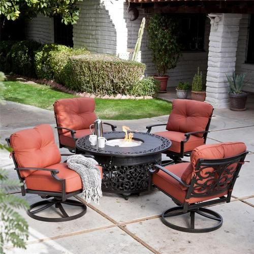 Perfect 5 Piece Outdoor Patio Lounge Set With Gas Fire Pit Fire Glass Patio  Furniture. Free