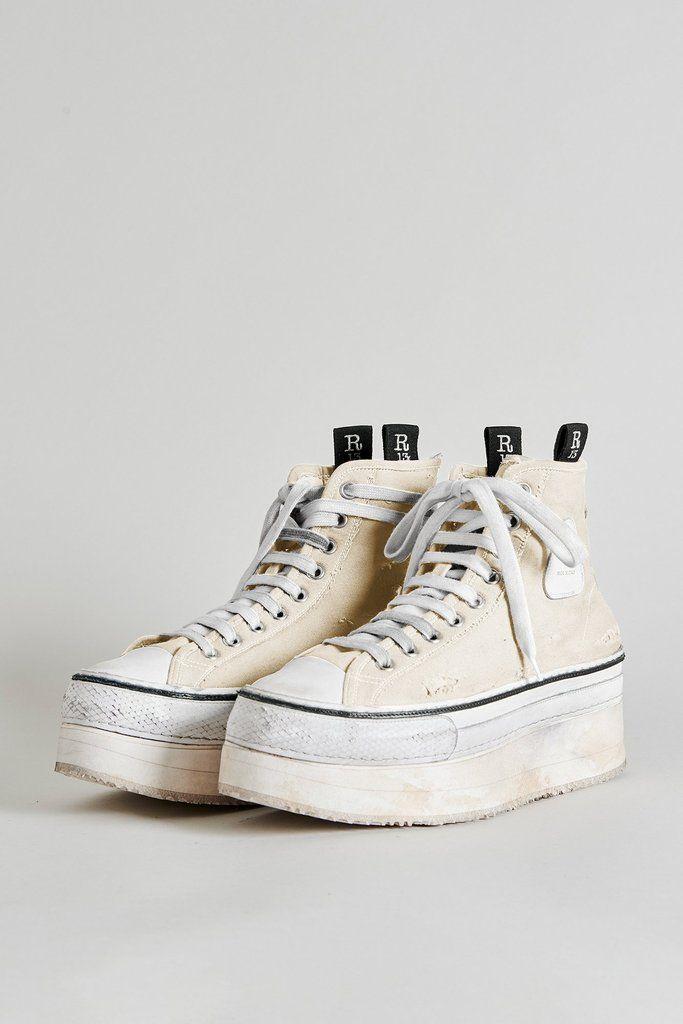 Platform High Top Sneakers - Ecru