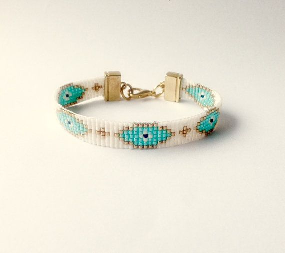 Beaded evil eye bracelet - friendship bracelet, bead loom bracelet, ethnic bracelet, boho bracelet, mix and match  bracelet