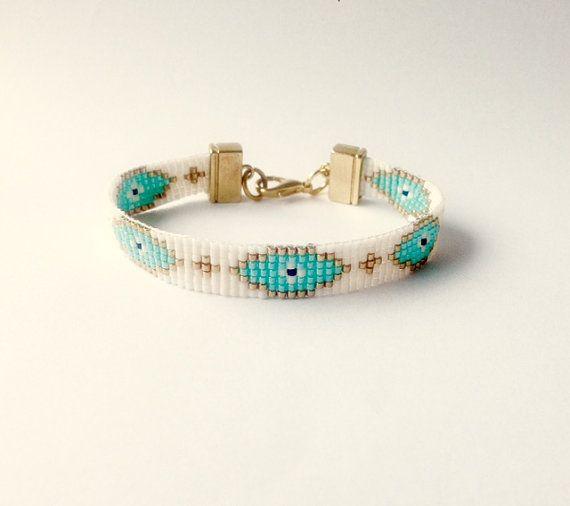 Boze oog handgeweven armband - Ibiza armband - zomer armband, boho chic armband, bead loom armband, vriendschapsarmband