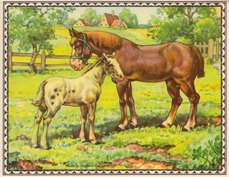 Antikes Glanzbild, Märchenbild, Pferd mit Fohlen, Nostalgie, Kinder-Deko, Bild