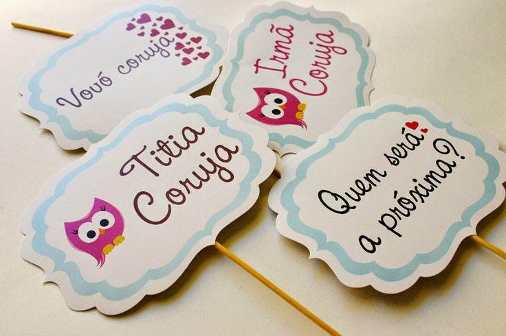 Plaquinhas para deixar seu Chá de Bebê mais charmoso ainda!       Para a mamãe coruja, para a irmã coruja, para a vovó coruja....      P...