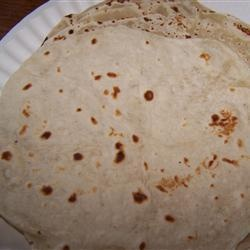 Homemade Flour Tortillas!!...I make these all the time. soo good! I use 6 cups of FLOUR (measurements are confusing) Also i add more hot WATER, and spices like Chipotle Chile Pepper, Garlic and Red Pepper..ect.....Make sure to pan fry with a tiny bit of grape seed oil to..mmmm