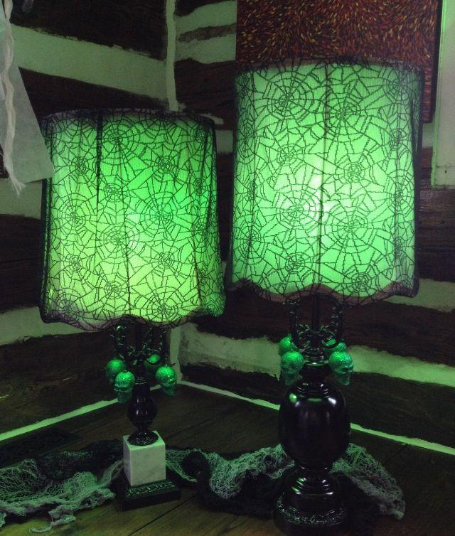 Halloween decor; Green lighting and black lace