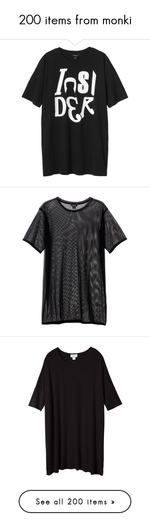 """""""200 items from monki"""" by f-4bulous ❤ liked on Polyvore featuring dresses, tops, shirts, clothes - dress, spirited statements, monki, sports dresses, sport dresses, t-shirts and black magic"""