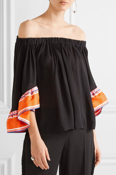 Emilio Pucci - Off-the-shoulder Twill-trimmed Silk-georgette Top - Black - IT44