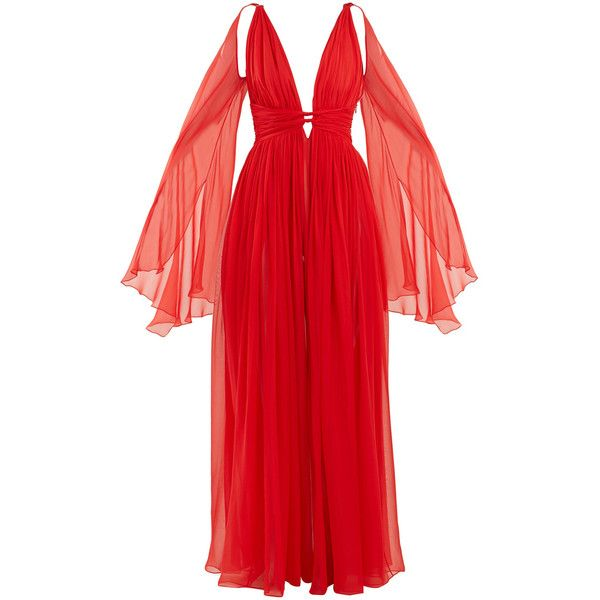 Dundas Deep v-Neck Sleeveless Silk-Chiffon Gown ($3,920) ❤ liked on Polyvore featuring dresses, gowns, red, red evening dresses, long evening dresses, long gown, long sleeve dress and long red ball gown