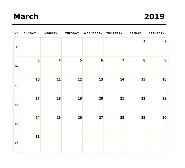 Printable March 2019 Calendar Schedule Printable March 2019