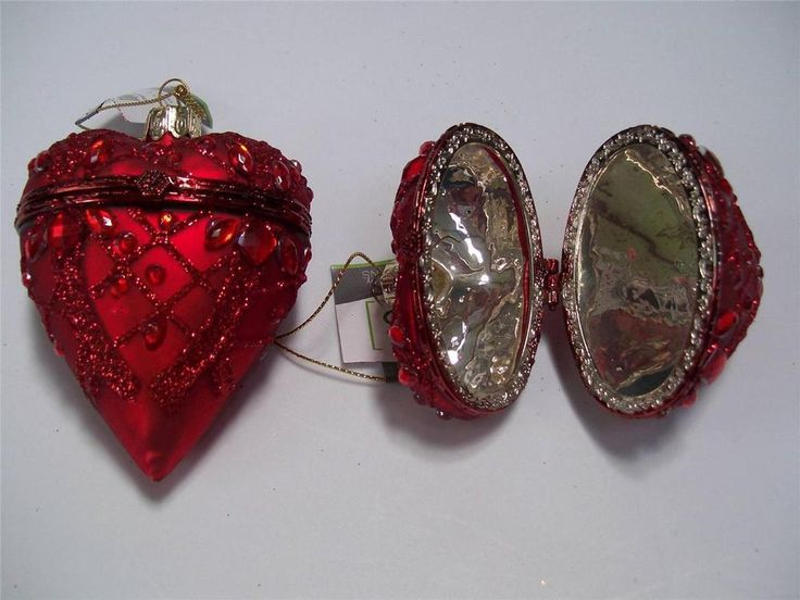 "2 NWT 3.5"" RED Scroll Glitter Mercury GLASS Hinged HEART Box CHRISTMAS Ornaments #Sullivans"