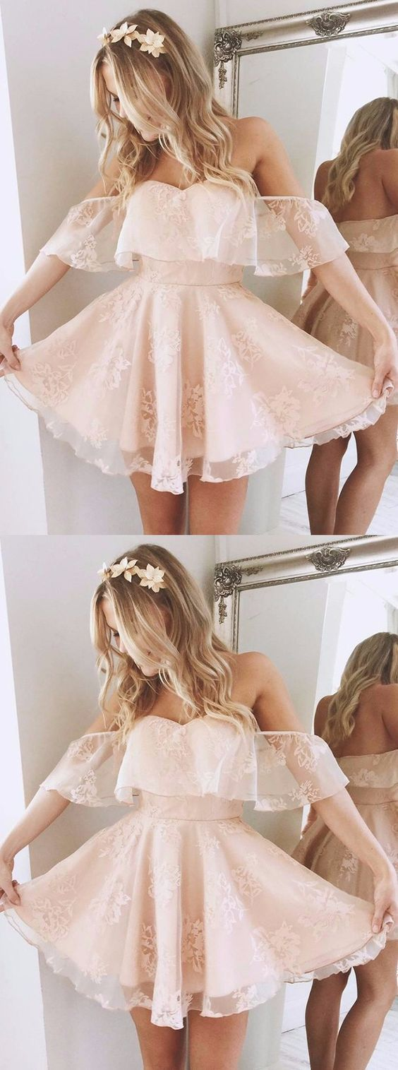 A-Line Off-the-Shoulder Short Pearl Pink Lace Homecoming Dress,Party Dress,Evening Dress,50302