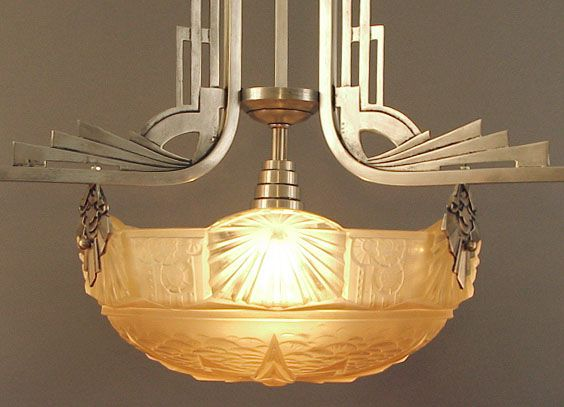 French Art Deco Chandeliers Just Back From France -- Muller, Degue, Schneider, Daum, Hettier-Vincent, others