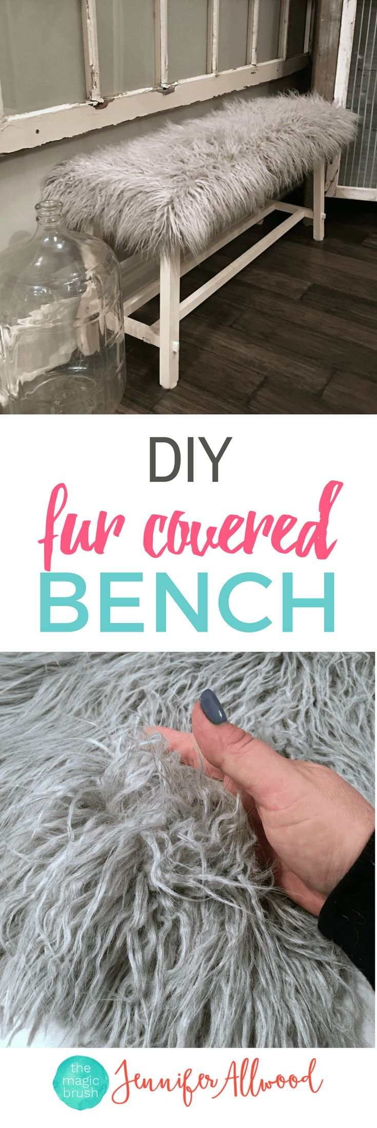 DIY Fur Covered Bench | Faux Fur Bench Tutorial | Luxe Furniture | Decorating Ideas from theMagicBrushinc.com