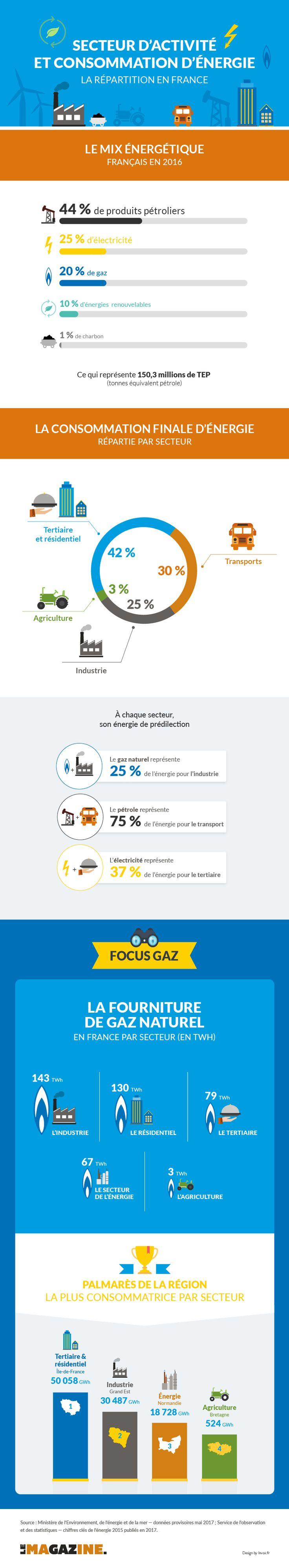 La consommation énergétique des secteurs d'activité français résumée en une infographie. Quelle est leur énergie favorite ? Quel secteur consomme le plus?