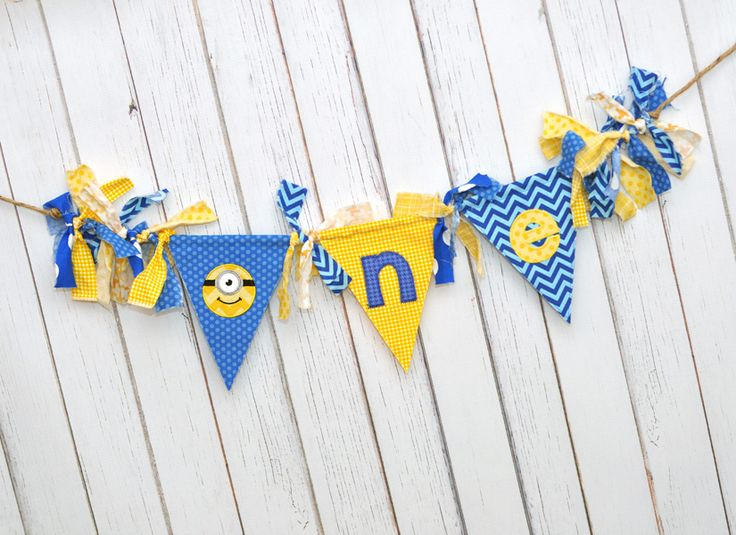 Yellow leather Birthday Party     Chic Smash Shabby Ideas   Blue Mason     s Fabric Banner  Cake Flag   black Decor Highchair Chi    First MINION Birthday trainers Blue  Shabby Rag mens