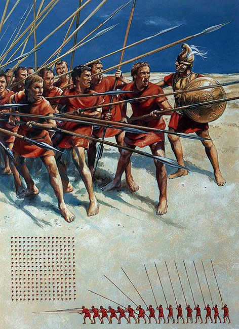 """-0359 -0300 """"Pezhetairoi in training"""" con la sarissa. Eran la columna vertebral del ejército macedonio. Formaban la compañía de a pie (en griego, pézos significa soldado de a pie, infante, y hetairos, compañero o amigo)., Christa Hook"""