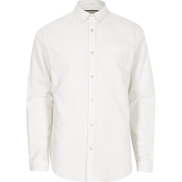 River Island White concealed button-down Oxford shirt ($13) ❤ liked on Polyvore featuring men's fashion, men's clothing, men's shirts, men's casual shirts, shirts, white, mens button front shirts, mens white shirts, mens white long sleeve shirt and mens cotton oxford shirts